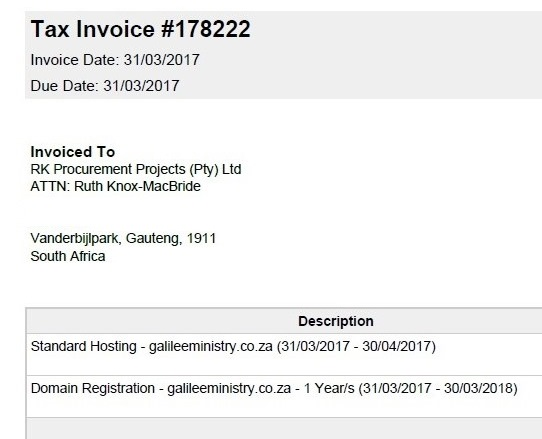 GEM Site Invoice